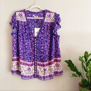 Spell & Gypsy Collective Dahlia Purple Blouse XXL